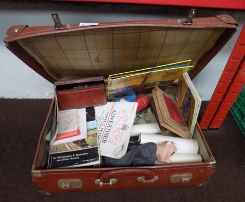 Vintage suitcase & items