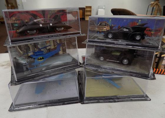 6x Die cast Batmobile vehicles