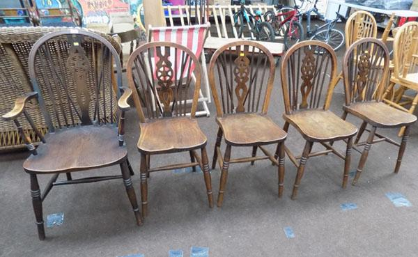 5x Wheel back chairs