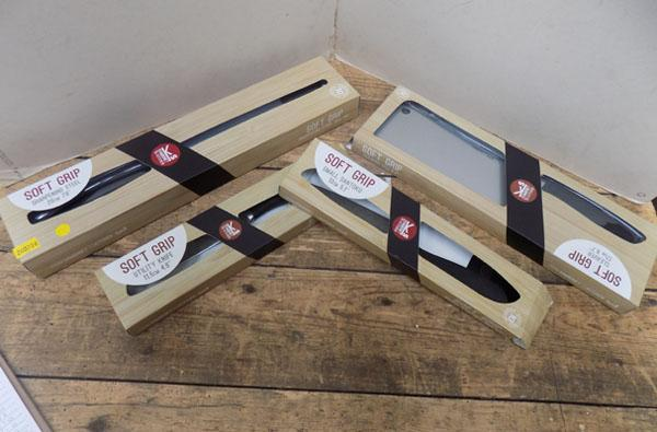 Set of soft grip kitchen knives & sharpening knife