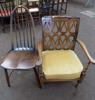 Vintage fret cut back chair & 1 other