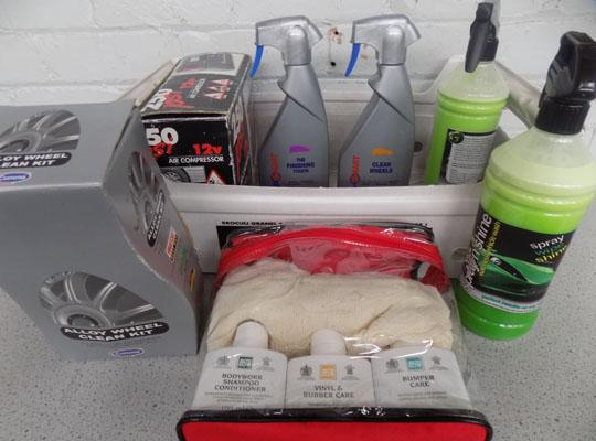 Box of car cleaning equipment