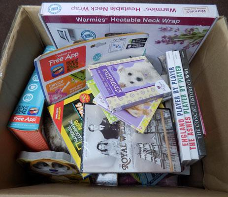 Box of new mixed items inc books