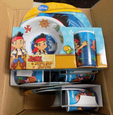 Box of 6x Jake Neverland pirated 3 piece tableware set