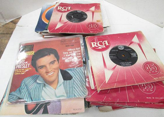 Box of Elvis 45 EP records