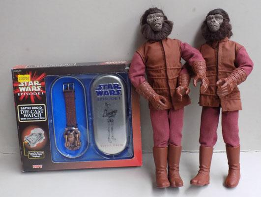 2x Planet of the Apes figures by Kenner & Star Wars watch