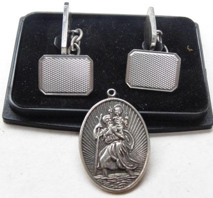 Pair of silver cuff links & St Christopher