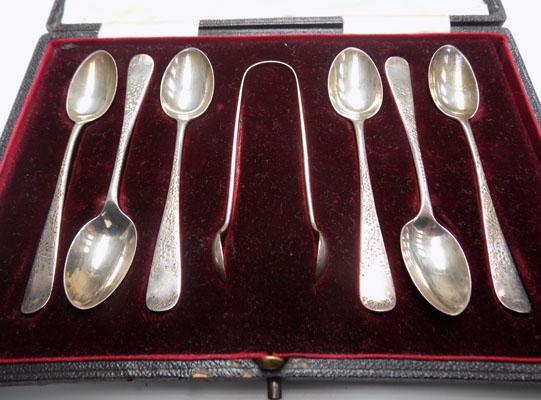 Set of Antique silver spoons & sugar tongs in box