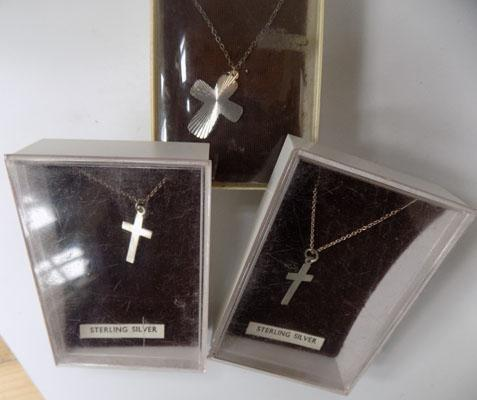 3 x sterling silver crosses on silver chains