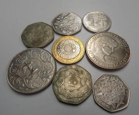 Selection of coins inc five pounds & £2 coins
