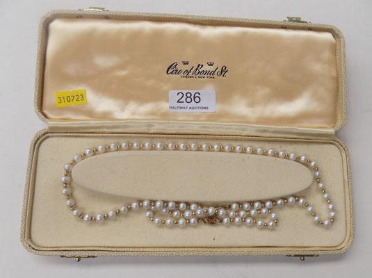 14kt Gold layered & real Pearls necklace matching bracelet