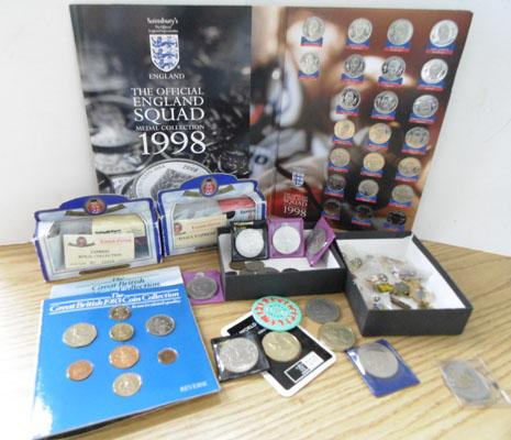 Selection of coins,die cast cars & vintage badges