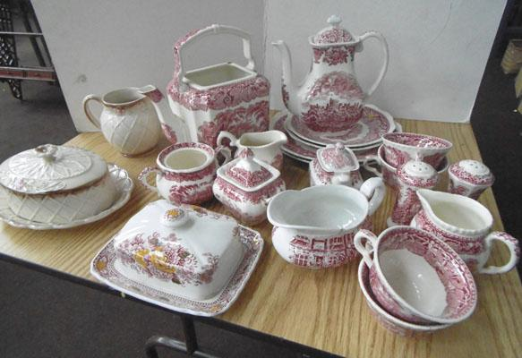 Selection of red & white pottery-Mason's