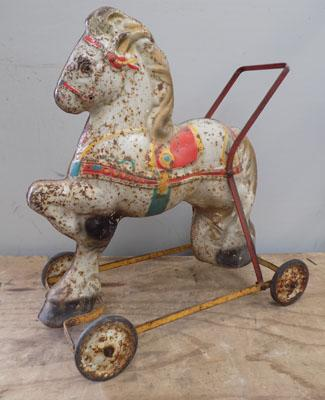 Tin plate vintage child's horse (possibly Chad Valley)