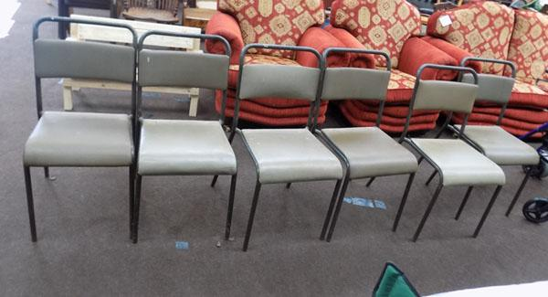 6 Vintage industrial stacking chairs
