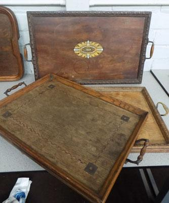 3x Vintage serving trays