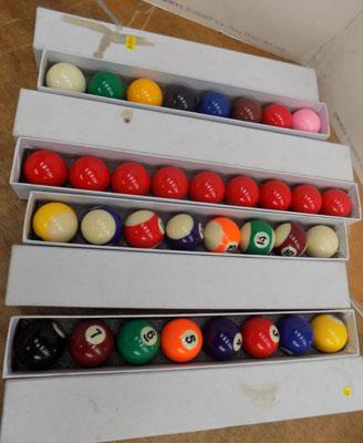 Sets of brand new pool & snooker balls