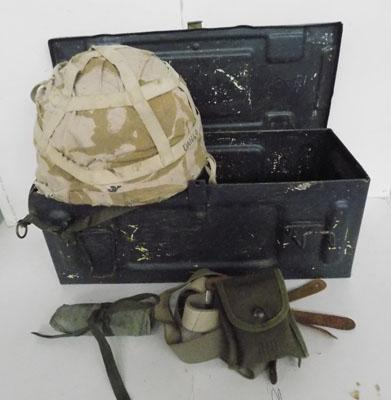 Soldiers helmet + WWII ammo box and WWII soldiers braces and first aid pack