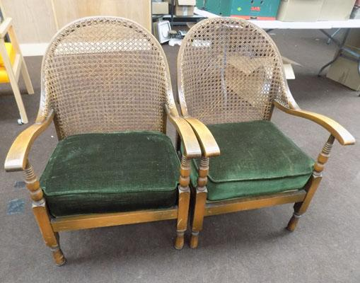 Pair of Rattan backed vintage chairs