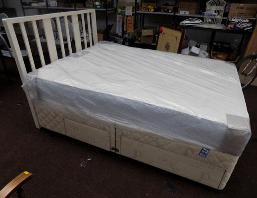 Double bed 4 drawer divan, headboard + Balmoral orthocare memory mattress (sealed)