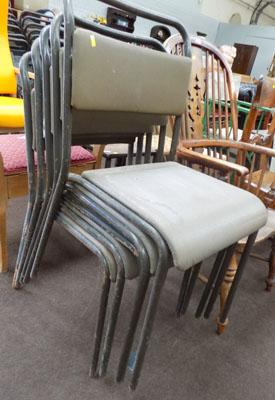 5 vintage industrial stacking chairs