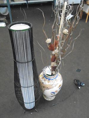 Large lamp & large vase with light twigs