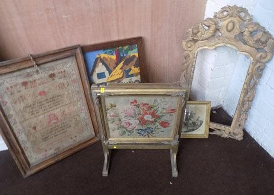 Selection of vintage tapestries & ornate mirror frame