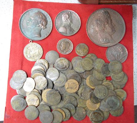 Selection of old coins & tokens