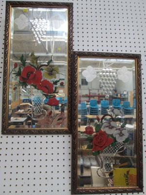 Pair of floral mirrors