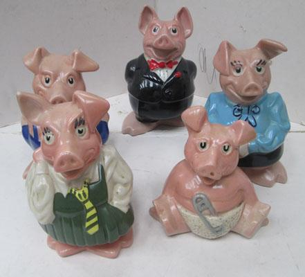 5x Wade Nat West pigs money boxes