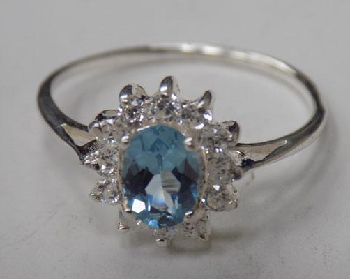 Sterling silver Aqua Marine & cz ring size S