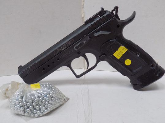Tanfoglio 1.77 air pistol, fires BB's-pellets in office