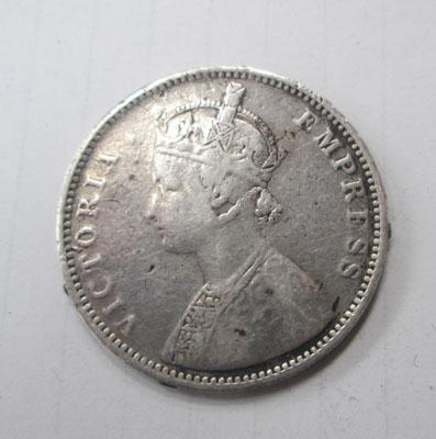 Solid silver 1 Rupee 1877 coin