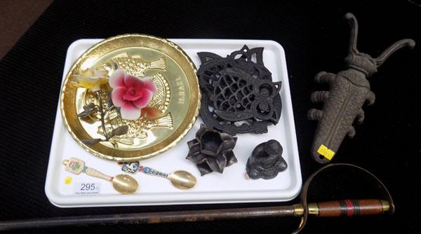 Tray of metal items inc Sword