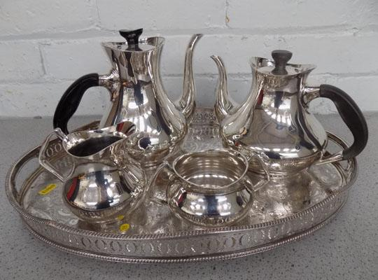 Silver plate tea pot, coffee pot etc on tray