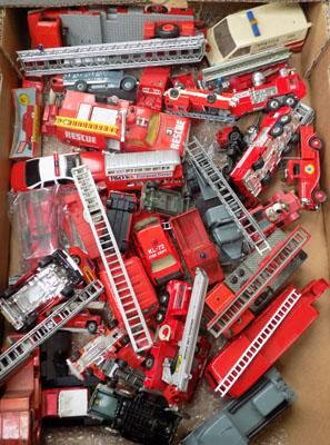 Box of misc Fire engines Dinky, Corgi. Matchbox