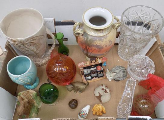 Box of collectables inc Beswick, Noritake, crystal etc
