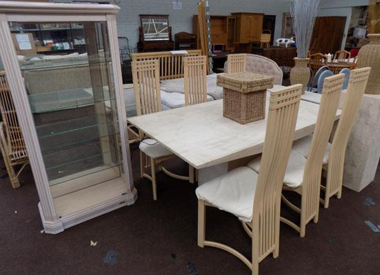 Italian Tavitine marble dining room suite-including table, display cabinet, 2 plinths etc