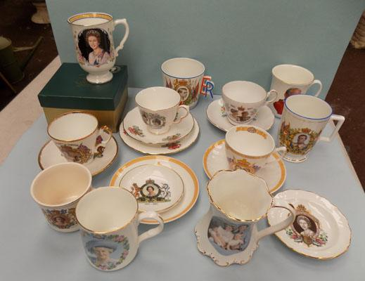 Box of collectable Royal Coronation cups etc