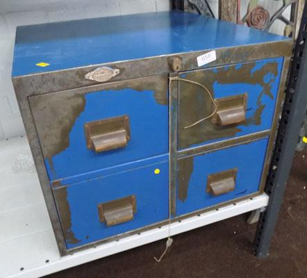 Art metal London filing cabinet with key
