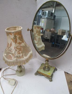 Dressing mirror with Onyx base & Onyx lamp