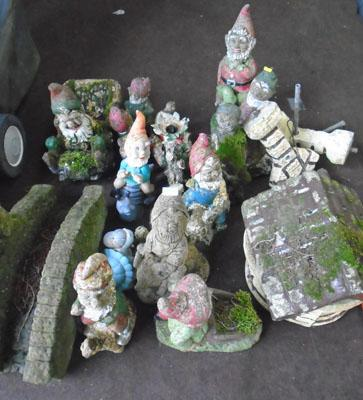 Large collection of garden ornaments
