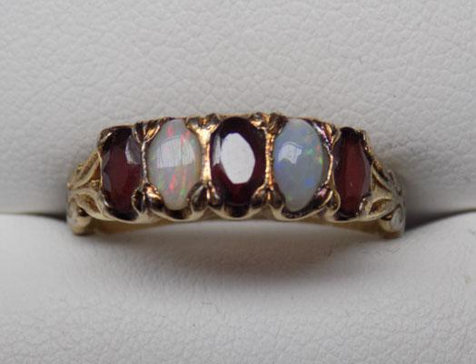 9ct Gold on silver garnet & Opal ring size P