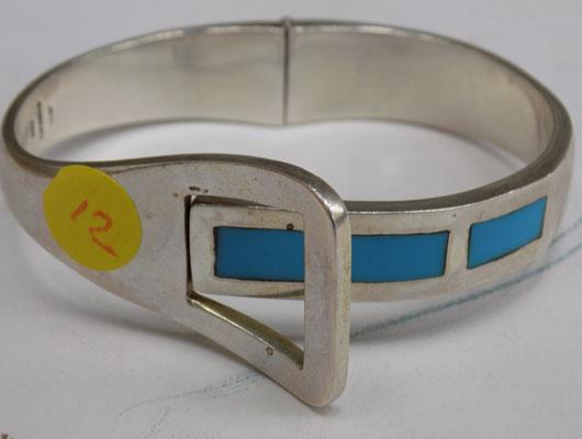 Heavy 925 silver & Turquoise bangle
