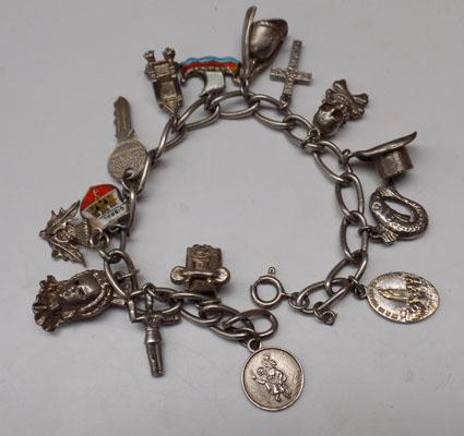 Silver charm bracelet with charms inc vintage