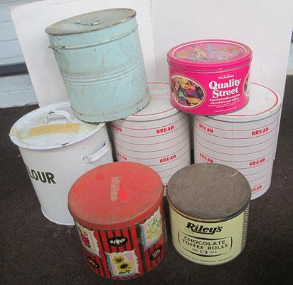 Collection of large vintage tins