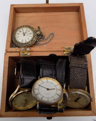 Selection of watches including Sekonda in small wooden box
