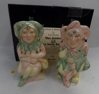 Royal Doulton character jugs - Jester and Lady Jester D7170 Limited Edition  0633 1998 boxed