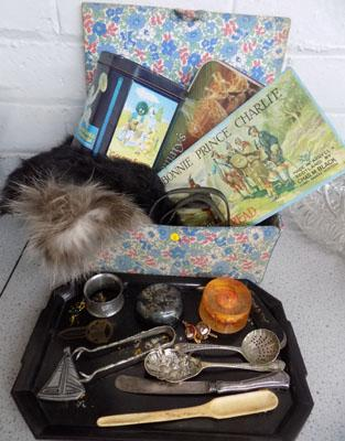 Selection of vintage items inc furs & tins