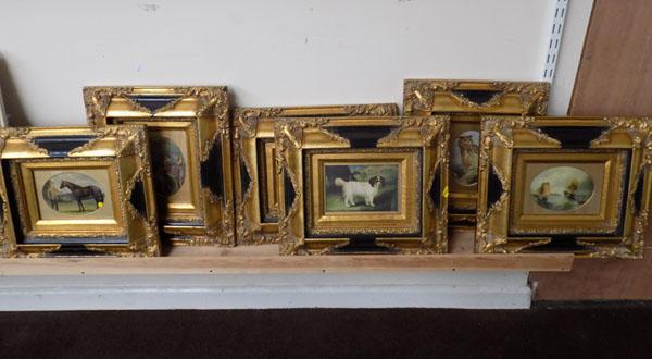 6x Pictures in ornate gold frames